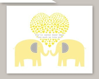 Yellow and Gray Elephant Art You Are My Sunshine Art Print 11x14, choose your colors by YassisPlace 086