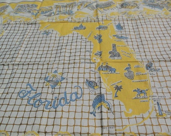 Florida Map Tablecloth, Miami Beach, Flamingos and More Landmarks