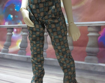 45cm BJD Brown and Green Scratchy Squares Pants MSD