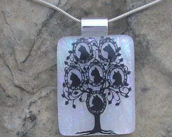 Cat Jewelry Cat Necklace Fused Dichroic Glass Cat Pendant