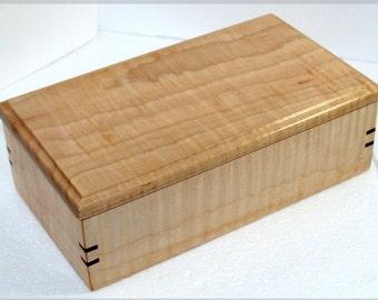 Tiger Maple Jewelry Box Wooden Keepsake Box Gift for Men