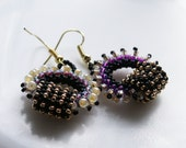 Romantic Boho Chic circle Hoops earring tiny purple black beige gold seed beads Toho finished with gold plated hooks.