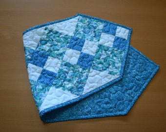 Quilted Table Runner, Patchwork Quilt Runner, Turquoise Blue Teal, Mint Kitchen Decor