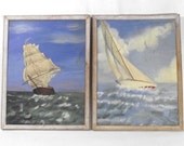 Pair of Seascapes - Original Artwork - Acrylic on Board - Sailboat Ship Brig