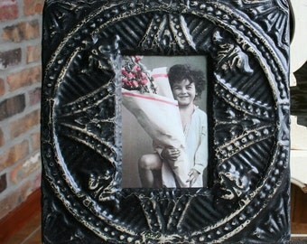 Antique Ceiling Tin Picture Frame -- 4 x 6 -- Distressed Black Paint -- Intricate Design