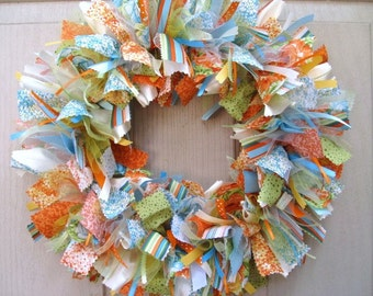 Summer Wreaths, Summer Door Wreath, Wreath for Summer, Summer Door Decor, Fabric Wreath, Ribbon Wreath, Rag Wreath for Front Door