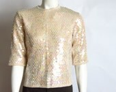 vintage 60s buttercream sequin wool sweater Cyn Les small