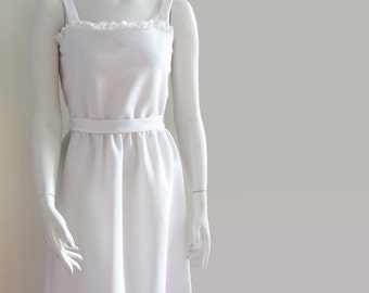 vintage 70s sundress summer dress white Caron Chicago small