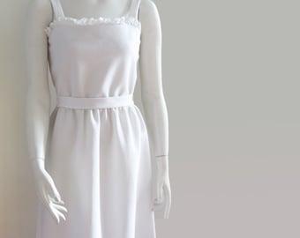 vintage 70s sundress summer dress white Caron Chicago small