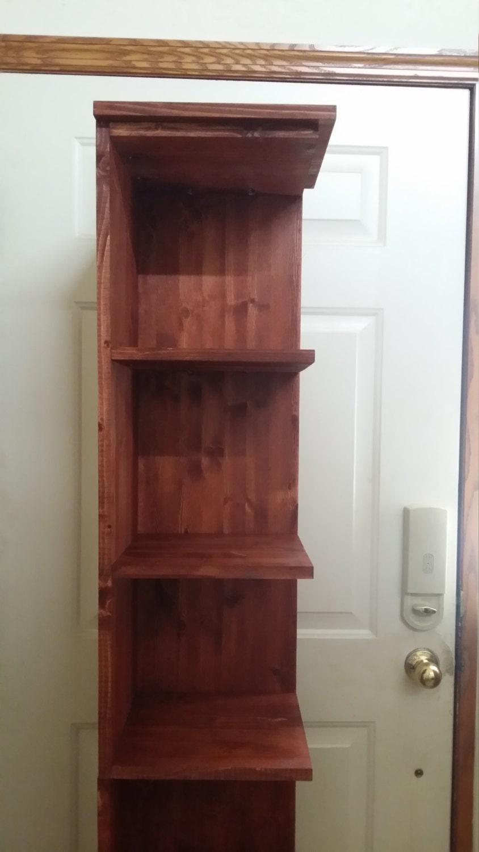 72 In Tall Red Chestnut Finish Corner Shelf Bookcase