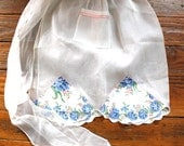 Home Chef...Vintage White and Floral Half Apron, Flowers, Woman's Fashion