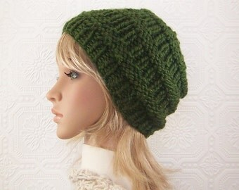 Hand knit hat - green beanie - chunky knit beanie - women's accessories - winter hat, fall fashion, Sandy Coastal Designs - ready to ship