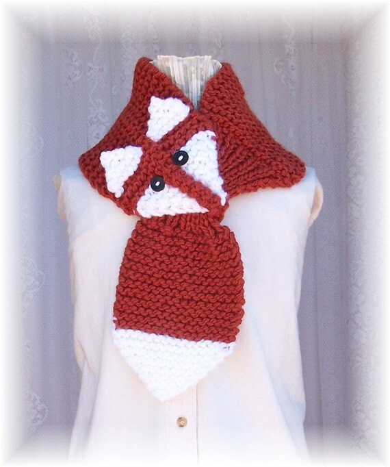 Knitting Pattern Fox Scarf : Hand knit fox scarf burnt pumpkin scarf by SandyCoastalDesigns