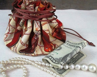 Hand Made Jewelry/Mini Travel Purse/Pouch with Drawstring - Cowboy Boots