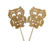 12 Glitter Gold Owl Cupcake Toppers, Toothpicks, Party Picks, Food Picks, Party Supplies - No934