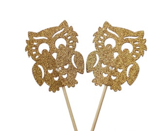 12 Glitter Gold Owl Cupcake Toppers, Baby Shower Decorations - No934
