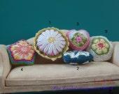 OOAK crochet pillow cushion - 1:12 scale - dollhouse decoration