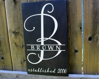 Custom Last Name with Monogram Sign - Est year - Made to Order - Wedding Sign - Housewarming