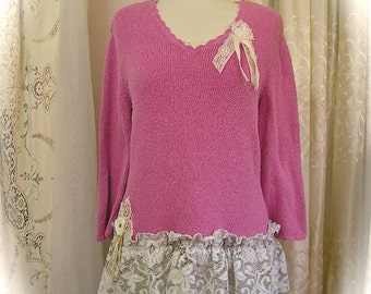 SALE Shabby Cottage Sweater, pink sweater, womens refashion altered couture clothing, tattered vintage lace, LARGE