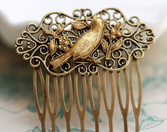 Bird on Branch Brass Hair Comb, Wedding Bridal Hair Comb.Flowers Collage Hair Comb, Bridal Bridesmaid Comb,Summer,Gift for her