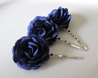 Navy hair flowers - Bridal hair pins - Bridesmaids hair flowers - Flower girls hair pins - 3 pcs