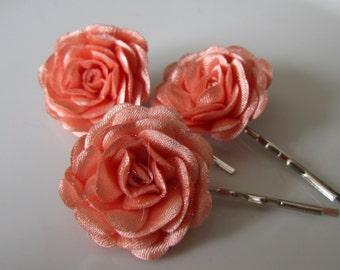 Salmon hair flowers - Bridal hair pins - Bridesmaids hair flowers - Flower girls hair pins - 3 pcs