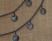 Oxidized Silver Chain with Brushed Silver Discs Necklace