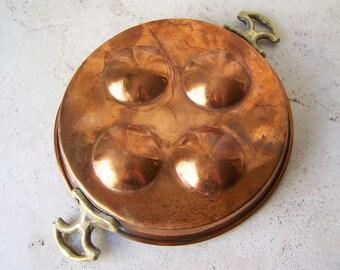 Vintage Copper Egg Poacher Copper Home Decor Rustic Kitchen Solid Copper Pan Primitive Decor Vintage 1970s