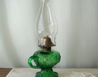 Antique Oil Finger Lamp Emerald Green Glass Bullseye with Fleur De Lis Tassel EAPG Bulls Eye Antique Home Decor ca. 1860