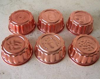 Vintage Copper Tone Jello Molds Set of Six Acorn Pineapple Cherry Apple Grape Sunflower Jello Mould Copper Tone Molds Kitchen Decor 1980s