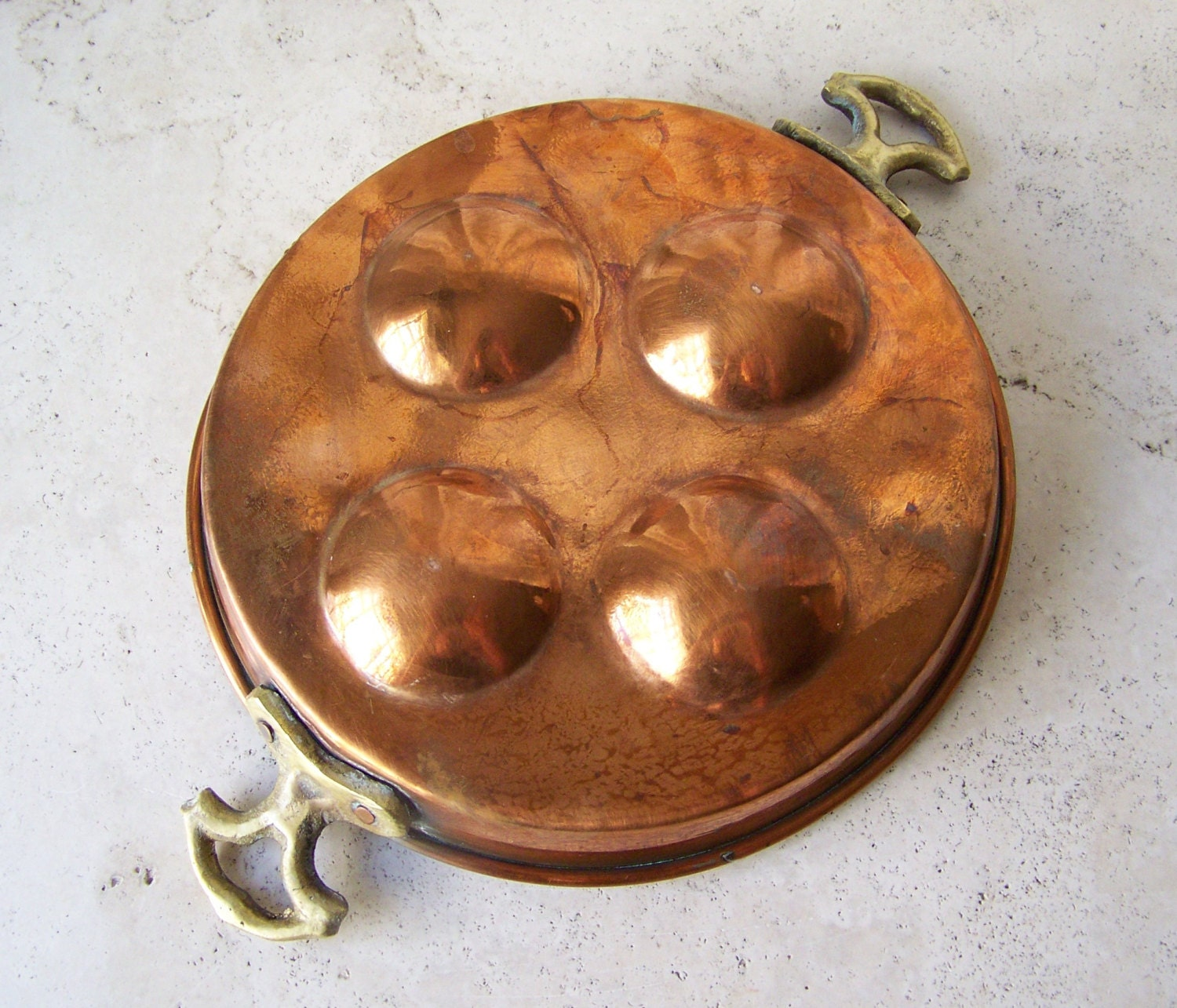 vintage copper egg poacher copper home decor by cynthiasattic