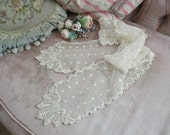 Antique Victorian Embroidered Tambour Floral Tulle Lace Lappet Scarf Bow C54