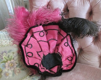 Antique Victorian Black Velvet Pink Ostrich Plumes Feathers Taffeta Bows Show Can Can Hat