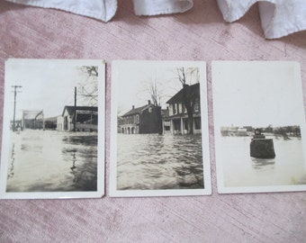 3 RARE  Vintage Photograph Photo Snapshot Black White Pictures Flood Flooded Town Houses