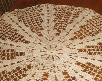 Vintage Handmade Crocheted Round  Ecru Cotton Tablecloth.    Lace Doily : 38 inches