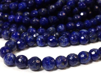 6 mm. Lapis Lazuli Stone Faceted Round Beads - 96 Faces Full Strand (G4111W35)