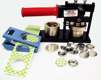 """Tecre Button Maker Kit 1.25"""" 1-1/4 Inch Machine, EK Success Punch + 250 Button Parts"""