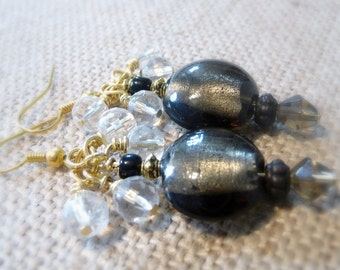 Glass Lampwork Foil Beaded Cluster Earrings, Cluster Dangle Earrings, Gray Jewelry, Gray Glass Beads, Gold-Plated Cluster Earrings, OOAK