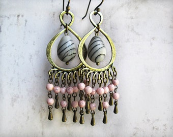 Boho Earrings, Bohemian, Pink Chandeliers, Pink Earrings, OOAK Earrings, Bohemian Jewelry, Dangle, Teardrops, Drops