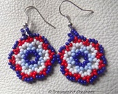 Huichol Stitch Earrings, Red, White and Blue, Handmade in USA, Native style