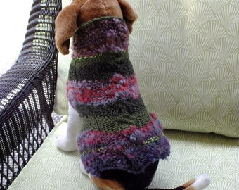 "Dog Coat Hand Knit Cable Medium 15"" inches long"