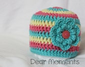 0-3 Months Baby Girl Beanie - Pink, Aqua and Yellow crochet hat - FREE SHIPPING