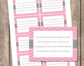 Pink and gray book instead of a card, chevron book insert, pink and gray baby shower, book request  bbq2 INSTANT DOWNLOAD