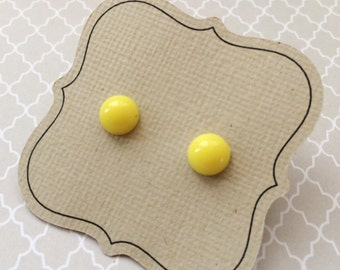 Yellow Candy Dot Earrings, small hypoallergenic on titanium posts