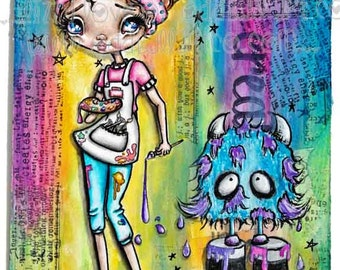 "Big Eye Art ""Color My World"" Giclee Print Signed Reproduction by Lizzy Love [IMG#155]"