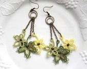 Leaves Spring Tatting Lace Green Yellow Fiber Beaded Dangle Earrings