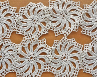 8 Vintage Crochet Doilies, Small Craft Doilies, Pinwheel Design Off White, Ecru, Tan Doilies