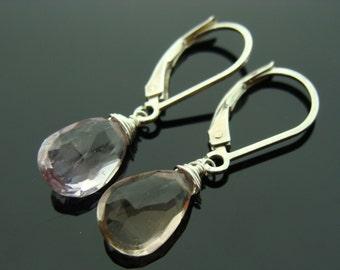 Ametrine Drop Sterling Silver Leverback Earrings
