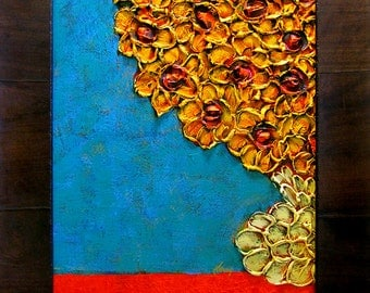 Framed Floral Impasto Acrylic Painitng...Imported Olive Wood Frame by Roma