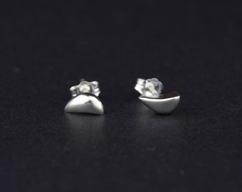 Waved Ball Stud Earrings: Sterling Silver